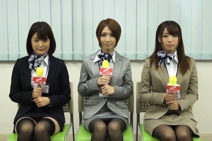 Three hot Japanese AV models get drilled hard during interview