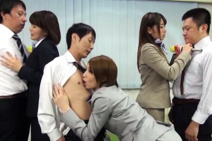 Three hot Japanese AV models get drilled hard during interview