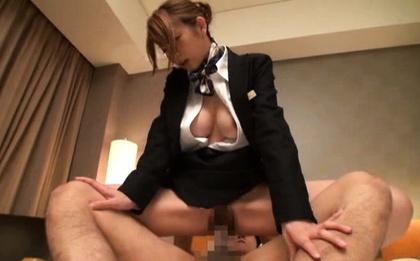 Elegant Japanese AV model is a hotel worker has sex with hot guy